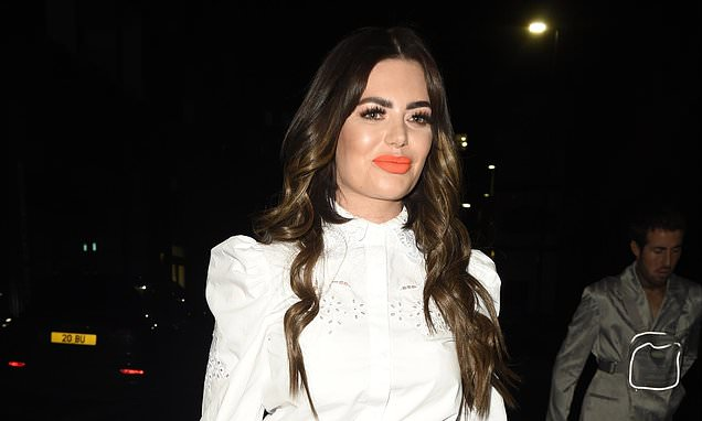 Megan Barton Hanson flaunts her toned legs in leather mini skirt teamed with frilled blouse